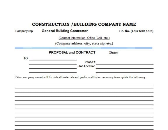 Construction proposal contract template