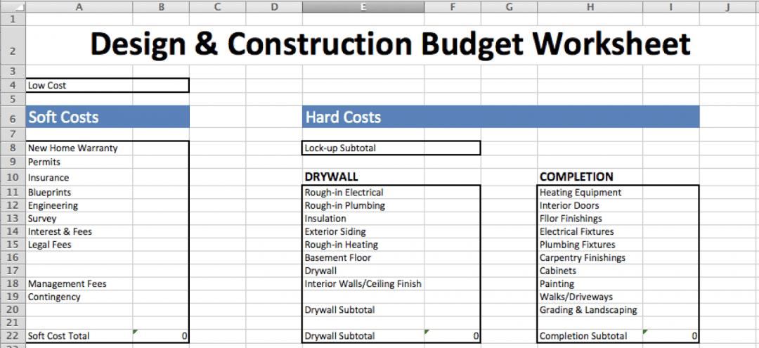 Soft versus hard costs template