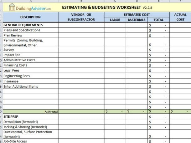 Estimating and budgeting template