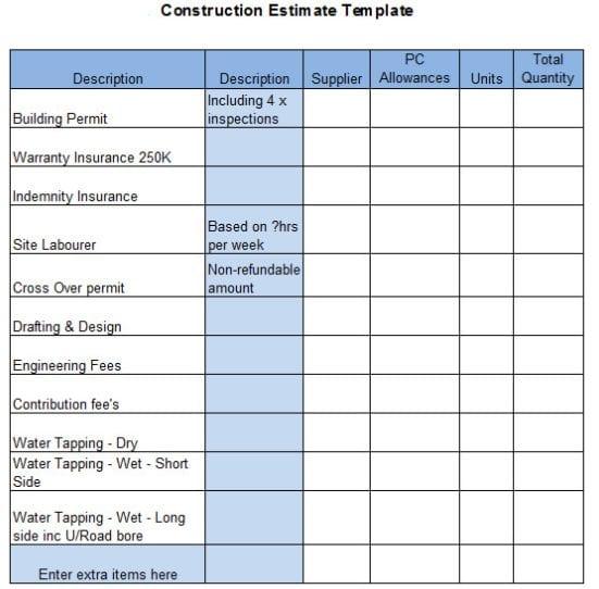 Construction estimate template