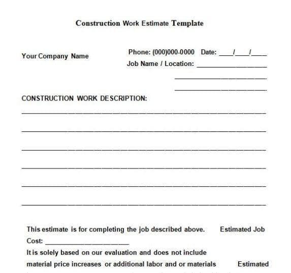 Construction work estimate template
